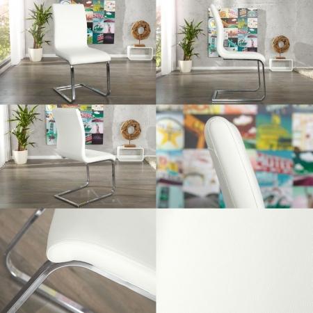 Freischwinger ENZO Weiß aus Kunstleder - 3