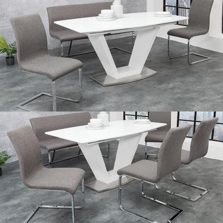 Sitzbank ENZO Grau aus Strukturstoff 130cm - 2