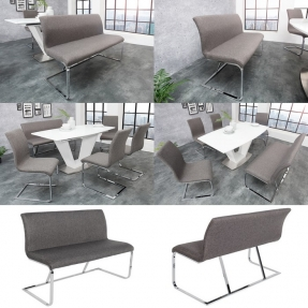 Sitzbank ENZO Grau aus Strukturstoff 130cm - 3