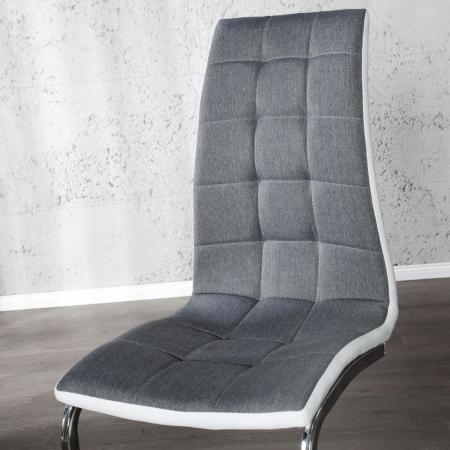 Freischwinger PHOENIX Grau-Weiß gesteppt aus Strukturstoff & Kunstleder - 3