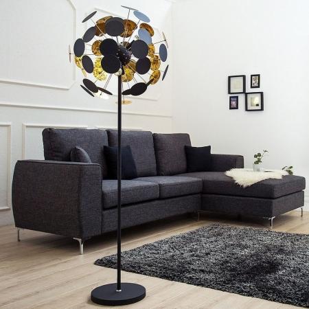 Stehlampe PLATO Schwarz-Gold 170cm Höhe - 1