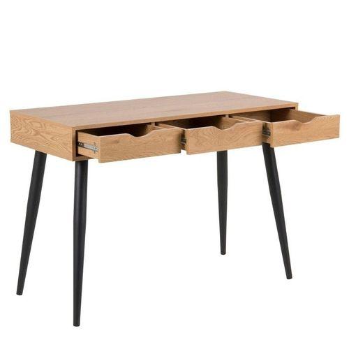 Schreibtisch VIBORG Wildeiche mit 3 Schubladen und schwarze Beine 110cm x 50cm - 2