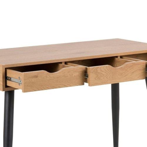 Schreibtisch VIBORG Wildeiche mit 3 Schubladen und schwarze Beine 110cm x 50cm - 3