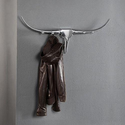 Garderobe Stierkopf Schädel ARIZONA Silber aus poliertem Aluminium 100cm Länge - 1