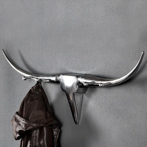 Garderobe Stierkopf Schädel ARIZONA Silber aus poliertem Aluminium 100cm Länge - 2
