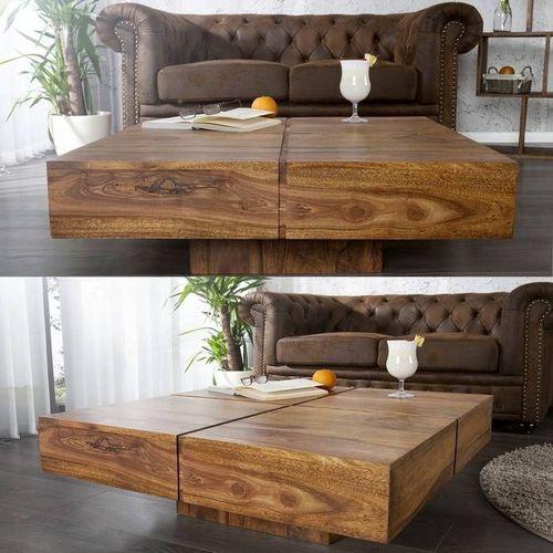 Couchtisch SALEM Sheesham massiv Holz gewachst 80cm x 80cm - 1