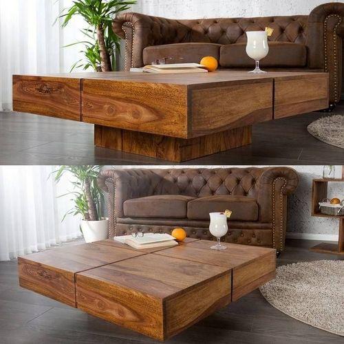 Couchtisch SALEM Sheesham massiv Holz gewachst 80cm x 80cm - 2