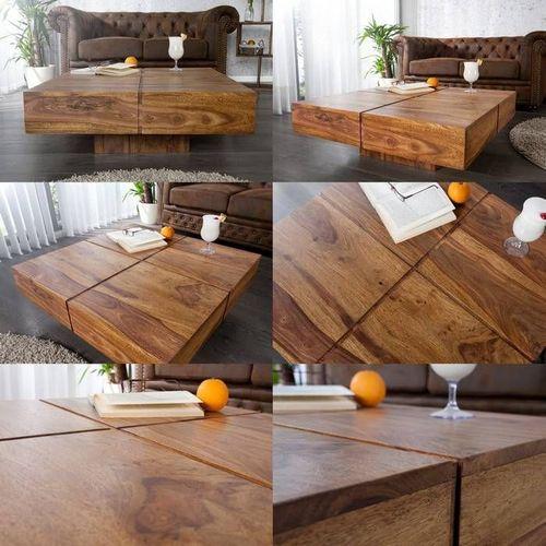 Couchtisch SALEM Sheesham massiv Holz gewachst 80cm x 80cm - 3