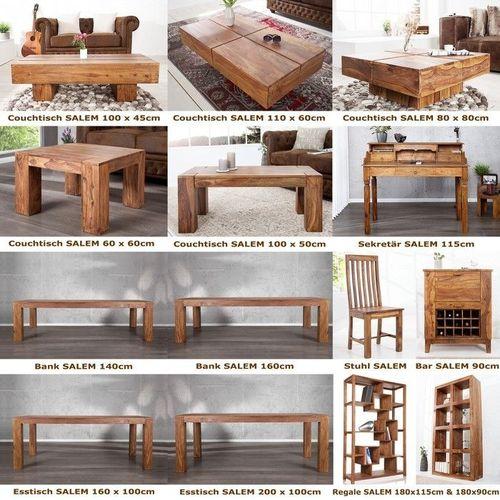 Couchtisch SALEM Sheesham massiv Holz gewachst 80cm x 80cm - 4