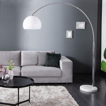 Bogenlampe LUXX Weiß & Marmorfuß Weiß mit Dimmer 185-205cm Höhe - 1