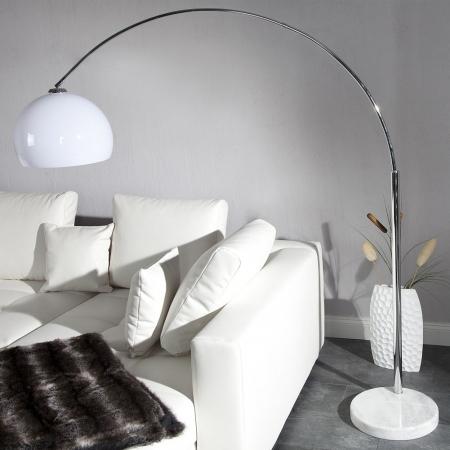 Bogenlampe LUXX Weiß & Marmorfuß Weiß mit Dimmer 185-205cm Höhe - 2