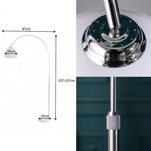 Bogenlampe LUXX Weiß mit Marmorfuß Weiß 137-157cm Höhe - 6