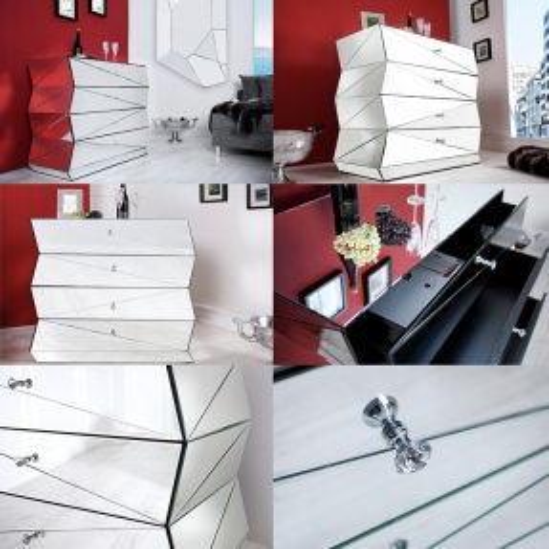 Sideboard FACETTO mit Facettenschliff & 27 Spiegelflächen 100cm - 3