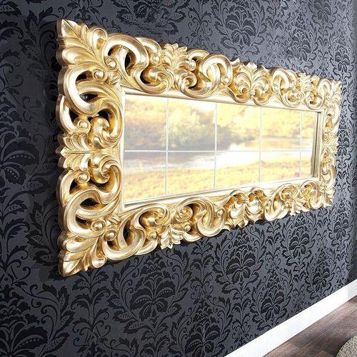 XXL Romantischer Wandspiegel FLORENCE Gold Antik in Barock-Design 180cm x 90cm | Vertikal oder horizontal aufhängbar! - 1