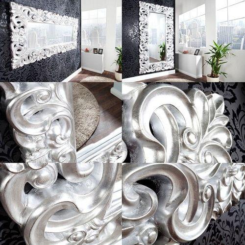 XXL Romantischer Wandspiegel FLORENCE Silber Antik in Barock-Design 180cm x 90cm | Vertikal oder horizontal aufhängbar! - 3
