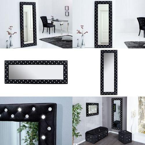 XL Wandspiegel JOSEPHINA Schwarz aus Samt mit Strasssteinen in Barock-Design 170cm x 60cm | Vertikal oder horizontal aufhängbar! - 3