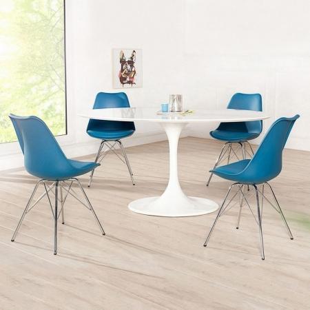 Retro Stuhl GÖTEBORG Blau & Chromgestell im skandinavischen Stil - 1