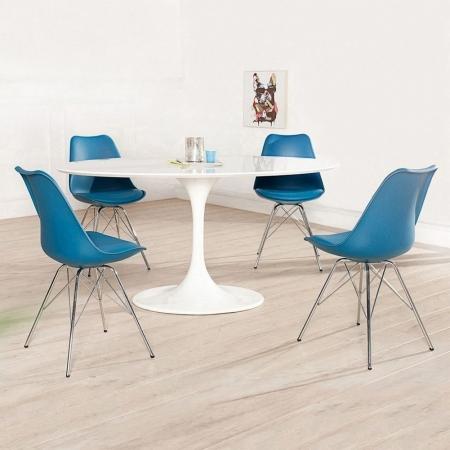 Retro Stuhl GÖTEBORG Blau & Chromgestell im skandinavischen Stil - 2