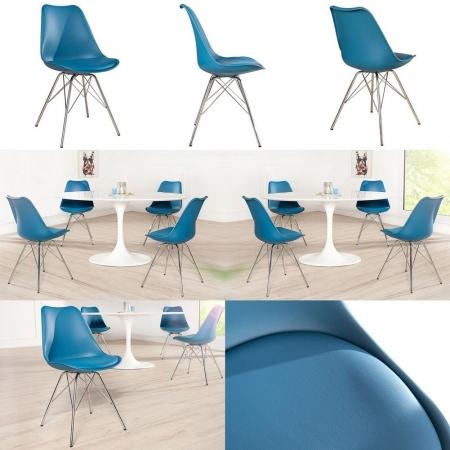 Retro Stuhl GÖTEBORG Blau & Chromgestell im skandinavischen Stil - 3
