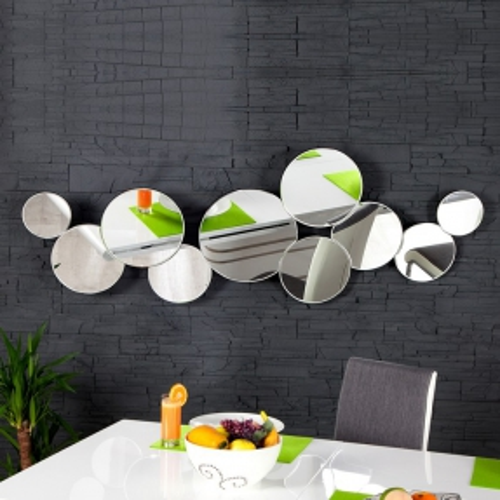XL Wandspiegel BUBBLES mit 10 runden Spiegelflächen 145cm x 50cm | Vertikal oder horizontal aufhängbar! - 1