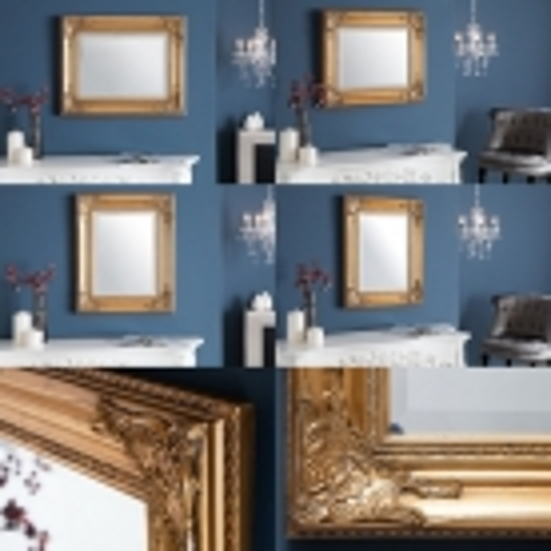 Romantischer Wandspiegel LOUVRE Gold Antik in Barock-Design 55cm x 45cm - 3
