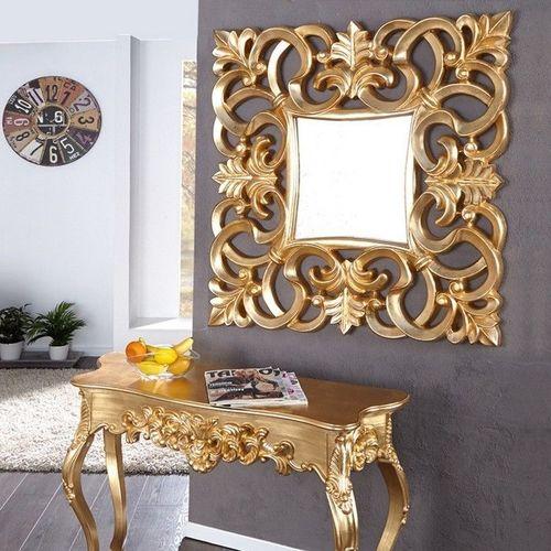 Romantischer Wandspiegel FLORENCE Gold Antik in Barock-Design 75cm x 75cm - 1