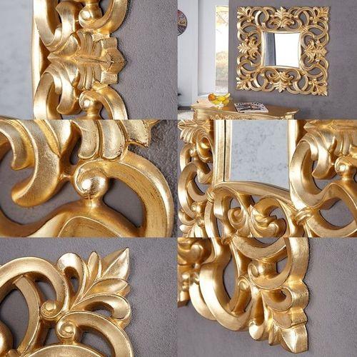 Romantischer Wandspiegel FLORENCE Gold Antik in Barock-Design 75cm x 75cm - 3