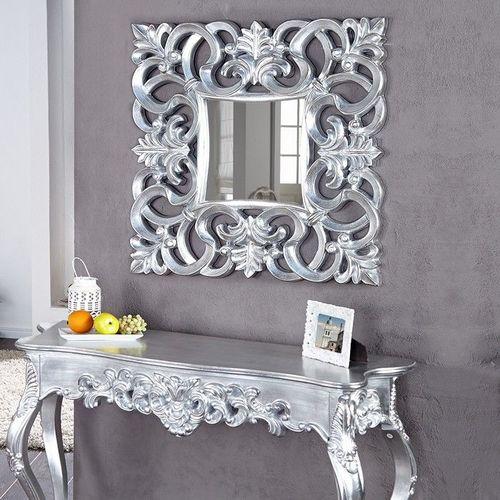 Romantischer Wandspiegel FLORENCE Silber Antik in Barock-Design 75cm x 75cm - 1