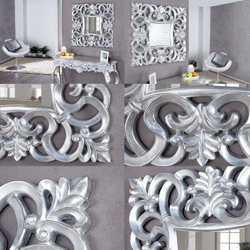 Romantischer Wandspiegel FLORENCE Silber Antik in Barock-Design 75cm x 75cm - 3