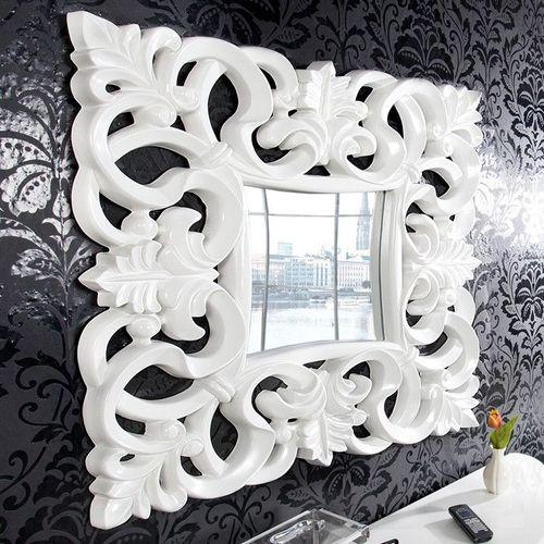 Romantischer Wandspiegel FLORENCE Weiß in Barock-Design 75cm x 75cm - 1