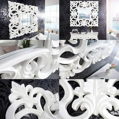 Romantischer Wandspiegel FLORENCE Weiß in Barock-Design 75cm x 75cm - 3