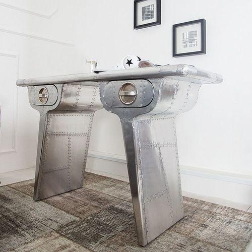 Außergewöhnlicher Schreibtisch AEROPLANE Silber in Vintage Steampunk Design aus Aluminium 120cm x 45cm - 1