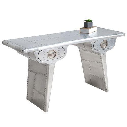 Außergewöhnlicher Schreibtisch AEROPLANE Silber in Vintage Steampunk Design aus Aluminium 120cm x 45cm - 2