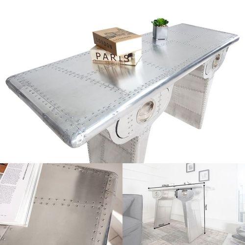 Außergewöhnlicher Schreibtisch AEROPLANE Silber in Vintage Steampunk Design aus Aluminium 120cm x 45cm - 3