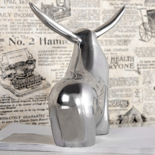 Deko Skulptur Briefbeschwerer Stier HECTOR Silber aus poliertem Aluminium 17cm Länge - 2
