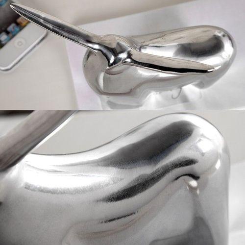 Deko Skulptur Briefbeschwerer Stier HECTOR Silber aus poliertem Aluminium 17cm Länge - 3