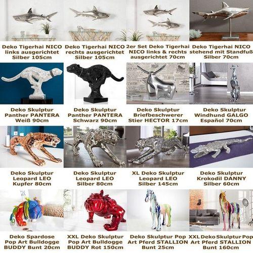 Deko Skulptur Briefbeschwerer Stier HECTOR Silber aus poliertem Aluminium 17cm Länge - 4