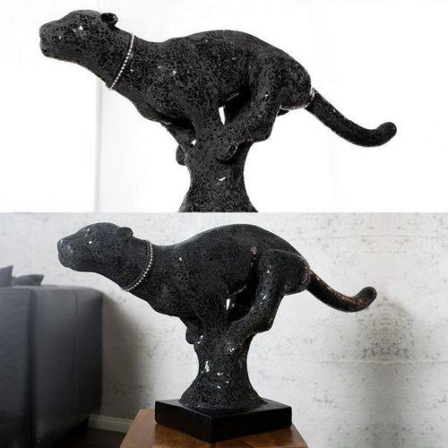 Deko Skulptur Panther PANTERA Schwarz aus Kunststein 90cm Länge - 2