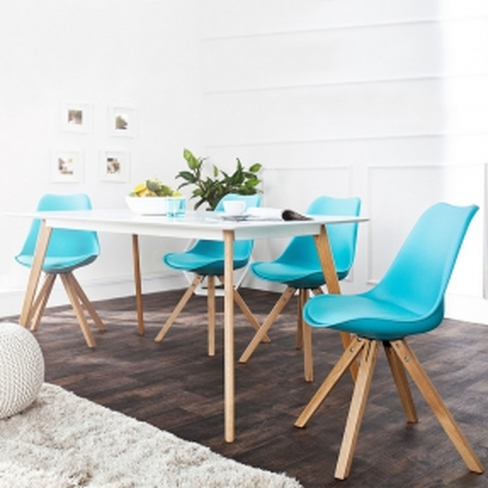 Retro Stuhl GÖTEBORG Türkis-Eiche im skandinavischen Stil - 1