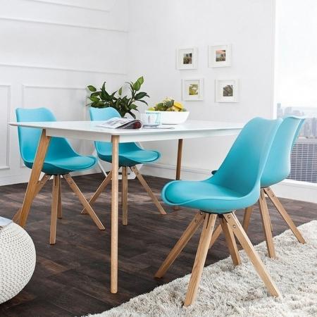Retro Stuhl GÖTEBORG Türkis-Eiche im skandinavischen Stil - 2