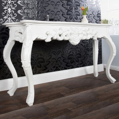 Romantische Konsole FLORENCE Weiß in Barock-Design 110cm x 35cm - 1