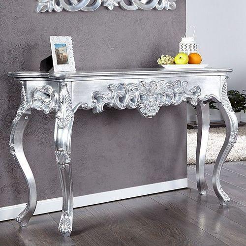 Romantische Konsole FLORENCE Silber Antik in Barock-Design 110cm x 35cm - 1