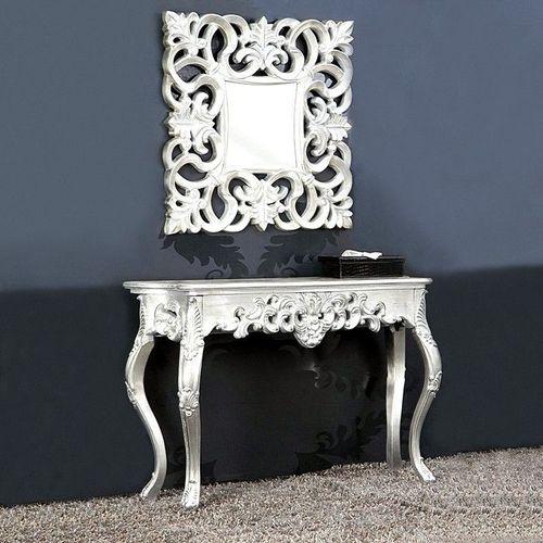 Romantische Konsole FLORENCE Silber Antik in Barock-Design 110cm x 35cm - 2