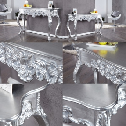 Romantische Konsole FLORENCE Silber Antik in Barock-Design 110cm x 35cm - 3