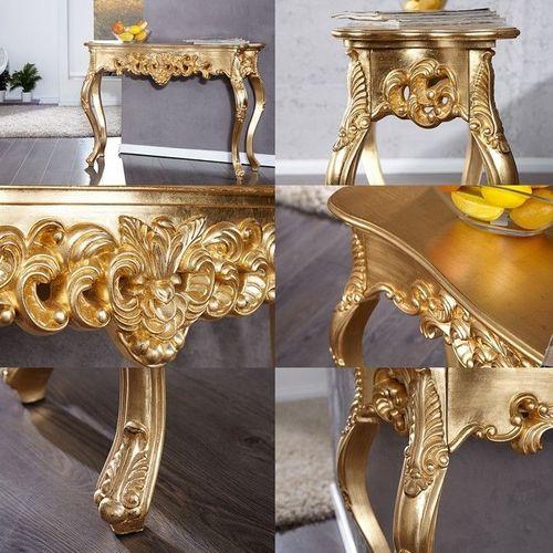 Romantische Konsole FLORENCE Gold Antik in Barock-Design 110cm x 35cm - 3