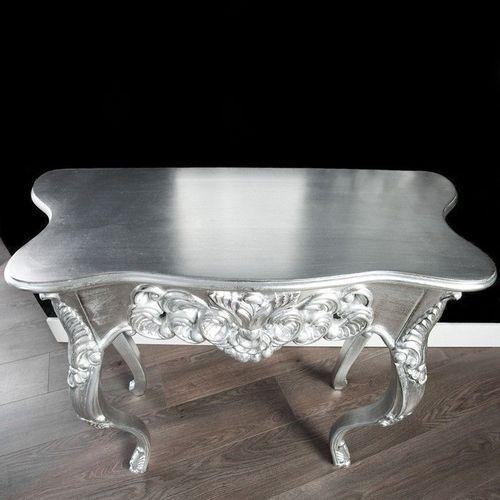 Romantische Konsole FLORENCE Silber Antik in Barock-Design 85cm x 35cm - 2
