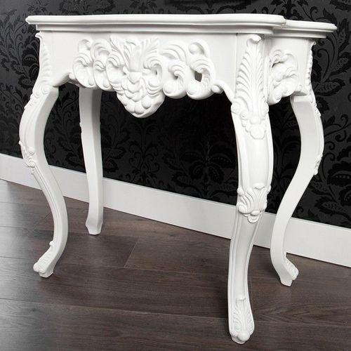 Romantische Konsole FLORENCE Weiß in Barock-Design 85cm x 35cm - 1