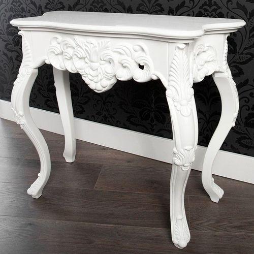 Romantische Konsole FLORENCE Weiß in Barock-Design 85cm x 35cm - 2