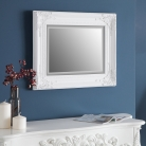 Romantischer Wandspiegel LOUVRE Weiß Antik in Barock-Design 55cm x 45cm | Vertikal oder horizontal aufhängbar! - 1
