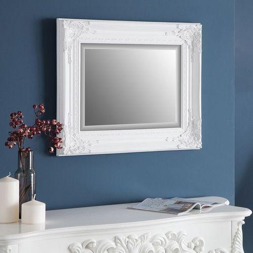 Romantischer Wandspiegel LOUVRE Weiß Antik in Barock-Design 55cm x 45cm - 1
